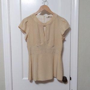 Nanette Lepore beige / black polka dot silk blouse